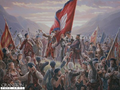 DHM297.  Raising the Standard at Glenfinnan, by Mark Churms. <p>Supported by the Highland Chiefs with twelve hundred highlanders present. Prince Charles Edward Stuart raised his standard at Glenfinnan on the 19th August  1745. This was the start of the Forty Five which would end with the defeat of the Jacobite Army on Drumossie Moor at the battle of Culloden 16th April 1746.<b><p> Signed limited edition of 1000 prints.  <p>Image size 24 inches x 15 inches (61cm x 38cm)