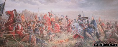 DHM298.  The Battle of Bannockburn by Mark Churms. <p> With the full might of Englands Army now gathered to do battle before the besieged Stirling Castle, the young Edward II Plantagenate is confident of victory over the enemy. To the west of the Bannockburn, Robert Bruce, King of Scots kneels to pray with his men and commends his soul to God. The Scottish battle lines are prepared. The Cavalry is in reserve to the rear behind the spearmen and archers (known as Flower of the forest) in tightly packed Schiltrons patiently awaiting the coming onslaught. Unknown to the English, the open marshy ground of no mans land conceals hidden pits and trenches, major obstacles for any mounted charge.  Despite Cliffords and de Beaumonts premature and unsuccessful attempt to relieve the castle the day before, years of victory have taught the brave English knights to regard their Scottish foes with contempt. So, without waiting for the bowmen to effectively weaken the enemy lines the order is hurriedly given to attack! With one rush hundreds of mounted knights led by the impetuous Earl of Gloucester thunder headlong through the boggy ground straight for the impenetrable forest of spears and into defeat and death.  With dash and courage the knights try to force a way through the mass of spears but the Scots stand firm. The momentum of the charge is lost and there is no room to manoeuvre. Everywhere horses and men crash to the ground, casualties amongst the English are horrific. Robert Bruce seizes the moment and orders the exultant army to advance. The Englishmen are slowly pushed back into the waters of the Bannockburn. All discipline is lost as the soldiers and horses madly scramble for the far bank of the burn. Many drown or perish in the crush to escape the deadly melee. Edward II, with his army destroyed, flees with his bodyguard for the safety of Stirling Castle but is refused refuge and has to fight his way south to England. For Robert Bruce and Scotland victory is complete.  Text by Paul Scarron-Jones. <b><p> Signed edition print.  <p>Image size 32 inches x 15 inches (81cm x 38cm)