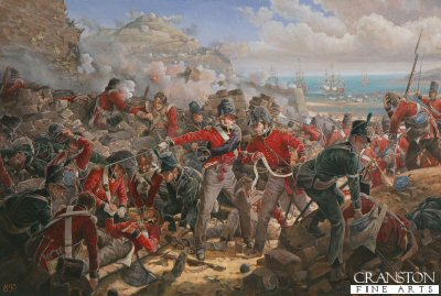 DHM299. Assault on the Breach of San Sebastian by Mark Churms. <p>The Storming party, 750 volunteers, included 200 men of the Guards, one hundred each from the First and Coldstream Guards. They moved off at two in the morning on the 31st August 1813, and occupied a ruined convent where they remained till half past nine. Aware of the almost impossible task ahead of them, and subjected to a violent electric thunderstorm, the troops waited in a state of savage anticipation.  Wild senseless laughter was said to have preceded the attack on the breach which could not be entered except in single file under heavy fire. The troops attacked in succession, but were struck down by hundreds. General Graham then ordered the artillery to fire over the heads of the assailants, clearing the ramparts. A shell ignited a quantity of powder, and under cover of the explosions, the storming party forced its way into the town.  San Sebastian was savagely sacked and burned, and the good name of Wellingtons Army suffered as it had done at Badajoz. The civilians were raped, robbed and murdered in revenge for the heavy losses suffered by the troops. The Franco-Spanish governor retired the citadel (San Marcial) and on the 9th September, after a gallant resistance of over a week, surrendered the charge he had so faithfully defended. The casualties among the officers of the first Guards were one Officer, Ensign Burrard, First battalion (a son of Sir Henry Burrard who was responsible for the disastrous Treaty of Cintra) severely wounded, since dead, and one Officer, Ensign Orlando Bridgeman, wounded. In the Coldstream Guards, one officer ensign Thomas Chaplin, According to Lord Saltoun there were in round numbers, 150 casualties amongst 200 Guardsman. Total losses of volunteers from all regiments were 1500 men. (text by Atlanta Clifford, assistant to the Curator-The Guards Museum)  In the painting. you see Ensign Chaplin lying wounded, attended by an Officer of the Coldstream Guards, Orlando Bridgeman is calling Assistant Surgeon Bacot, First Foot Guards, to go to the aid of his fellow officer, Burrard.<b><p> Signed limited edition of 1000 prints.  <p>Image size 23 inches x 15 inches (58cm x 38cm)