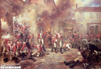DHM304.  Defence of Hougoumont Farm by Robert Hillingford. <p>1st Foot Guards and The Coldstream Guards are shown manning the walls of Hougoumont Farm against the heavy French forces at the height of the the Battle of Waterloo.  Also shown are some captured French soldiers.  During the Battle of Waterloo the 1st Foot Guards and the Coldstream Guards losses were as follows: 1st Foot Guards - 125 Killed, 352 Wounded, and the Coldstream Guards - 97 killed and 446 wounded and four missing.<b><p>Open edition print. <p> Image size 24 inches x 15 inches (61cm x 38cm)