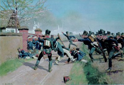 The Fusilier Battalion at Gros Guerschuen by Carl Rochling. (Y)