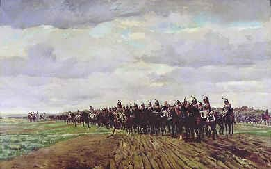 DHM314.  Austerlitz Before the Charge by Jean Louis Ernest Meissonier. <p>A regiment of Cuirassiers stand awaiting orders during the Battle of Austerlitz during the Napoleonic war against Austria and Russia. <b><p> Open edition print. <p> Image size 30 inches x 16 inches (76cm x 41cm)