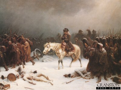 DHM318.  Napoleons Retreat From Moscow by Adolf Northern. <b><p>Open edition print. <p> Image size 30 inches x 20 inches (76cm x 51cm)