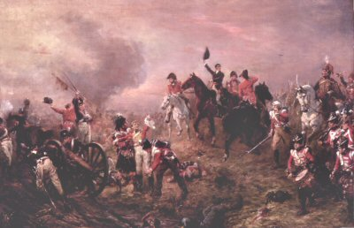 DHM320. Battle of Waterloo at Close of Day by Robert Hillingford. <b><p> Open edition print. <p> Image size 30 inches x 18 inches (76cm x 46cm)