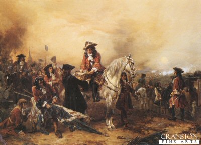 DHM321.  Marlborough Signing Dispatches After the Battle of Blenheim by Robert Hillingford. <b><p>Open edition print. <p> Image size 30 inches x 20 inches (76cm x 51cm)