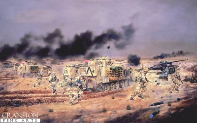 Assault on Iraqi Artillery Positions, 3rd Fusiliers Battle Group by David Rowlands. (GL)