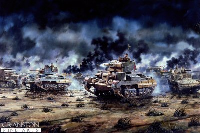 DHM341. The Battle of Beda Fomm  by David Rowlands. <p>Cruiser Tanks of 1st Royal Tank Regiment at the Battle of Beda Fomm.  6th February 1941: My friend Lt Col G Vesey Holt RTR has always considered that the deeds of 1 RTR at Beda Fomm have been neglected. To put this right he commissioned me to do a painting which he then presented to his Regiment. He obtained copies of the Regiment&#39;s War Diary. I was also greatly assisted by the staff of the Tank Museum, Bovington, which has examples of these tanks on display. On 6th February 1941, a column of Italian tanks and transport vehicles was proceeding southwards along the Benghasi-Tripoli road. In the late afternoon, B squadron engaged the enemy at about 500 yards from a hull down position behind a ridge, while five or six Cruisers of A Squadron crossed the road and proceeded south amongst the Italian column, firing on the transport and guns. It was raining heavily and visibility was poor.  The scene was littered with burning wreckage of Italian M13 tank and lorries. At about 1720 hours visibility became so bad that it was almost impossible to distinguish between friend and foe, and the tanks withdrew to re-group. No British tank was destroyed, though one was left damaged.  A Squadron is indicated by the triangle on the turrets, (red for the senior regiment in the brigade). An A9 is closest, with an A10 beyond. Commanders were almost invariably visible with their hatches open. The pennants on the antenna were a recognition sign, worn at different heights which changed daily. The white circle on a red square was the sign of 7th Armoured Division. The regiment&#39;s unit code sign was a white 24 on a red square. At this period British tanks had the multi-coloured diagonally striped pattern of camouflage.  The Cruiser A9 (Mark 1) had one 2-pounder gun and one .303-in. Vickers machine-gun mounted co-axially in the main turret, and one .303-in. Vickers mg in each of the two auxiliary turrets.  The Cruiser A10 (Mark 1A) h