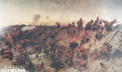 DHM380.  Tel El Kibir  by Alphonse de Neuville. <p>The Black watch are shown clambering over a large ditch and onto the Ramparts against a 5 gun redoubt heavily defended.<b><p>Open edition print. <p> Image size 32 inches x 18 inches (81cm x 46cm)