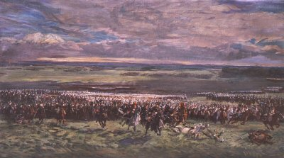 Charge of Donops Cavalry Led by Marshal Ney at Waterloo by Demoulin (B)