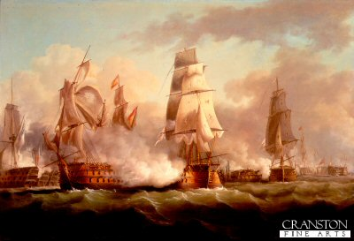 Neptune Engaged at the Battle of Trafalgar by F Sartorious.