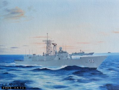 DHM4016. HMAS Canberra by Randall Wilson. <b><p> Signed limited edition of 100 prints. <p> Image size 12 inches x 9 inches (31cm x 23cm)