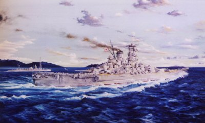 IJMS Yamato at Full Speed by Randall Wilson.