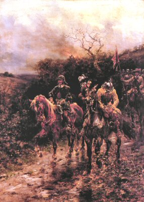 Roundheads Returning From a Raid by Ernest Crofts. (Y)
