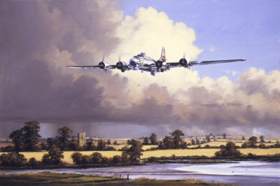 DHM416.  Berlin Bound by Anthony Saunders. <p>In 1944 Berlin was probably the most defended city in the world.  The Luftwaffe had kept what reserves it had for planes to defend Berlin.  On March 6th, 1944, The USAAF were involved in the massive air raid on Berlin, 69 B17s were lost � but the Luftwaffe lost 160 planes.  Whereas the US 8th Air Force could recover from these aircraft losses, the German Luftwaffe could not.  By the end of the war, the 8th Air Force and the Royal Air Force had destroyed 70% of Berlin.<b><p>Signed limited edition of 2500 prints.  <p>Image size 12 inches x 8 inches (31cm x 20cm)