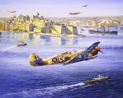 DHM0422B. Over Grand Harbour by Anthony Saunders. <p> P40 Kittyhawks of No.3 Squadron RAAF based at Ta Qali Airfield, Malta. <b><p>Signed by Group Captain Billy Drake DSO DFC* (deceased). <p>Drake signature edition of 200 prints from the signed limited edition of 2500 prints. <p> Image size 12 inches x 8 inches (31cm x 20cm)
