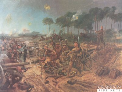 DHM445.  Capture of a German Battery by Richard Caton Woodville. <p>German 77mm battery captured by C Company, 2nd Battalion the Manchester Regiment, 2nd April 1917 at Francilly Selency.  The attacks on Francilly-Selency would prove costly and difficult to the attacking British forces. The Germans had dug in well.  But  the Manchester Regiments 2nd battalion, attacking from Roupy just beyond Savy village, towards the large hill which would later be called Manchester Hill, captured  the German 77nn Gun battery.  The Manchester Regiment would again be on the attack on the 14th of April at Fayet  and would go on to the trenches of the Hindenburg line at Gricourt road, San Quentin. <b><p> Restricted print run. <p> Image size 25 inches x 19 inches (64cm x 48cm)