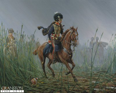DHM456. Officer, RHA, Belgium 1815 by Mark Churms. <p> Through the driving rain, Captain Mercer (G, troop Royal Horse Artillery), riding his charger Cossack leads his battery to the ridge of Mount Saint Jean on the eve of the Battle of Waterloo. <b><p> Signed limited edition of 1150 prints.  <p>Image size 17 inches x 13 inches (43cm x 33cm)