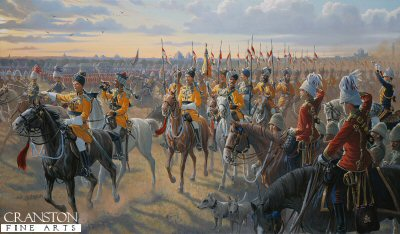 DHM461. Sikander Sahibs Yellow Boys by Mark Churms. <p> The colour and pageantry of the Raj is exemplified by a full-dress review in honour of the Viceroys visit to Luknow in 1899. The famous regiment of Bengal Lancers known as Skinners Horse, or Sikander Sahibs Yellow Boys receive the salutes from British Army staff officers. Also present are the 3rd Hussars. <b><p> Signed limited edition of 1150 prints.   <p>Image size 27 inches x 15 inches (69cm x 38cm)