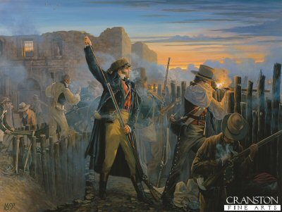 Crocketts Last Sunrise, at the Battle of the Alamo by Mark Churms. (Y)