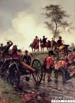 DHM494.  Wellington At Waterloo by Ernest Crofts. <p>Depicting Wellington directing the deployment of reserves from his famous position under the tree at Waterloo. <b><p> Open edition print. <p> Image size 15 inches x 24 inches (38cm x 61cm)