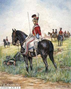 DHM502.  2nd Life Guards, Waterloo 18th June 1815 by Brian Palmer. <b><p>Signed limited edition of 1000 prints. <p>  Image size 9 inches x 12 inches (23cm x 31cm)