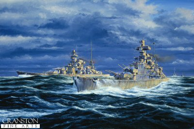 DHM524.  The Narvik Squadron by Anthony Saunders.<p> The Last of the heavy Cruisers built by Germany (5 in total) The picture shows Admiral Hipper making her first sortie on the 18th February 1940, accompanied by the Scharnhorst and the Gneisenau on Operation Nordmark. (Search for allied convoys on the route between Britain and Norway) <b><p> Signed limited edition of 1100 prints.  <p>Image size 24 inches x 15 inches (61cm x 36cm)