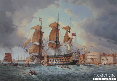 HMS Victory Entering Portsmouth Harbour for the Last Time on 4th December 1812 by Bill Bishop.