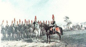 Royal Horse Guards on Manoeuvres by Orlando Norie.
