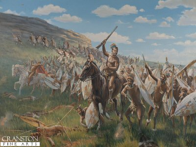 P561. Into the Fire by Mark Churms <p>Crouching low behind their shields, the warriors of the uThulwans, iNdlondo and uDloko regiments advance around the foot of Shiyane hill. Led by their commander, Prince Dabulamnzi kaMpnade, the main Zulu force attacks the British outpost at Rorkes Drift, 4.50pm, 2nd January 1879.<b><p>Postcard<p> Postcard size 6 inches x 4 inches (15cm x 10cm)