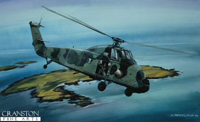 DHM573. Wessex Over the Copelands by David Pentland. <p> Westland Wessex of No.72 Squadron based at RAF Aldergrove, flying over the Copeland Islands in Belfast Lough. <b><p> Signed limited edition of 1000 prints.  <p>Image size 17 inches x 11 inches (43cm x 28cm)