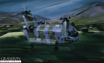 DHM574. Chinook over the Sperrins by David Pentland. <p> Boeing Chinook of No.7 Squadron (detachment) from RAF Aldergrove, flying on supply duty in the west of the province. <b><p> Signed limited edition of 1000 prints.  <p>Image size 17 inches x 11 inches (43cm x 28cm)