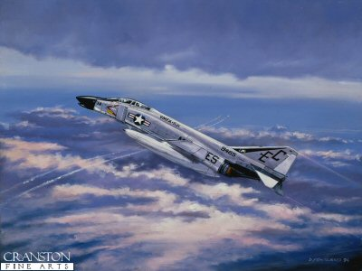 DHM583. Phantom II by David Pentland. <p> Phantom II of US Marine Corps, VMFA-531 (Grey Ghosts) Vietnam, Danang April 1965. <b><p> Signed limited edition of 1000 prints.  <p>Image size 17 inches x 12 inches (43cm x 31cm)