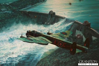 DHM6001. Low Pass Over the M&#246;hne Dam by Anthony Saunders. <p>Operation Chastise, the plan to destroy the mighty Ruhr dams, was bold, audacious and dangerous.  It was also set to become one of the most legendary combat missions ever undertaken in the history of aviation warfare.  In late February 1943 a unique decision was taken by the RAF to form the now legendary 617 Squadron, a highly specialised unit within Bomber Command.  Its task was to be the destruction of the huge M&#246;hne, Sorpe and Eder dams, which provided vital services to German industry.  Tasked with providing the crews for this new squadron was the young, outstanding, bomber and night-fighter pilot Wing Commander Guy Gibson, already a veteran of 174 bomber operations.  On 21st March 1943 the unit was formed at RAF Scampton under his command, and the chosen men had just eight weeks to prepare for the task in hand.  <b><p> Signed by :<br>Squadron Leader George L. Johnson DFM,<br>Corporal Maureen Stevens<br>and<br> Corporal Kenneth Lucas (deceased).<p> Signed limited edition of 425 prints.  <p> Paper size 32 inches x 24 inches (81cm x 61cm)  Image size 25.5 inches x 16.5 inches (65cm x 44cm)