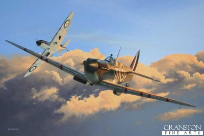 DHM6003. Where Thoroughbreds Play by Ivan Berryman. <p> A pair of Spitfire Mk 1s of 92 Sqn, based at Pembrey, practising dogfight tactics in a rare moment of relative peace in August 1940.  Nearest aircraft, N3249, (QJ-P) is that of Sgt Ralph <i>Titch</i> Havercroft who was to score 3 confirmed victories, 2 unconfirmed, one shared and three probables during his combat career. <b><p>Limited edition of 1150 prints.  <p> Image size 12 inches x 9 inches (31cm x 23cm)