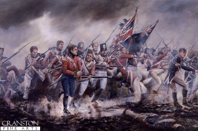 DHM602B.  The Fusiliers at the Battle of Albuera by David Rowlands. <p>The Duke of Wellington while besieging the fort of Badajoz was told of an approaching French Amy of 23,000 troops under Marshal Nicholas Soult. The Duke of Wellington despatched General William Beresford with a force of 6,000 British troops and 24,000 Spanish troops who took up position overlooking the village of Albuera. The French attacked on the morning of the 16th May, Marshal Soult launched a feint attack on Beresfords left flank, while his main force attacked Beresfords right flank. The Spanish troops were overwhelmed by French musketry and a cavalry charge, at this point the British second division were brought from the other flank to stop the attack. It was here that the Middlesex regiment, 57th of Foot, lost a total of 423 men from their force of 575 and at this battle earned the nickname the Die-Hards. The allied forces were saved when the British and Portuguese reserves were brought forward and charged uphill against the French force. The French force were able to retire in good order but were unable to relieve the siege at Badajoz. This British victory had a heavy price as out of 6,000 troops only 1,500 were not wounded.<b><p>Signed open edition print. <p> Image size 17 inches x 12 inches (43cm x 31cm)