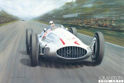 DHM6079. Silver Arrow by Gerald Coulson. <p> Rudolf Caracciola winning the 1939 German Grand Prix in the Mercedes W163. <p><b>Last 40 remaining prints of this sold out edition.</b><b><p>Signed limited edition of 350 prints.  <p> Image size 19.5 inches x 13 inches (50cm x 33cm)