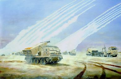 DHM609. The Artillery Raids, 18th / 23rd February 1991 by David Rowlands. <p>Between 18th and 23rd February, 1991, immediately preceding the ground assault, Iraqi defensive positions were bombarded by British and American artillery.  The Artillery Raids took place just inside the Saudi border all along the front line, from the east coast to west of the Wadi al Batin.  The 1st Armoured Division&#39;s contribution to the raids was the largest concentration of British artillery since the Second World War.  Further behind the M109 and M110 guns and the locating batteries were the armoured vehicle-mounted rocket launchers of the Multi-Launch Rocket System (MLRS).  39 Heavy Regiment, the only British regiment equipped with MLRS, fired five &#39;fireplans&#39;, one of them at night.  MLRS can ripple-fire 12 rockets in less than one minute.  The Artillery Raids were a major factor in the success of Operation Desert Sword because they contributed to the deception plan by concealing the main point of effort.  The ammunition itself was terrifyingly destructive.  Furthermore, Iraqi morale, already damaged by the air assaults, was crushed by the artillery bombardment.  At the right of the scene a DROPS vehicle of the Royal Corps of Transport is delivering Rocket Pod Containers, and gunners are preparing to re-arm the MLRS. <b><p> Unsigned edition. <p> Image size 17 inches x 12 inches (43cm x 31cm)