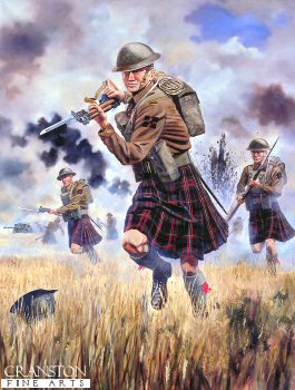 The Charge of the 1st Battalion Queens Own Cameron Highlanders by David Rowlands.