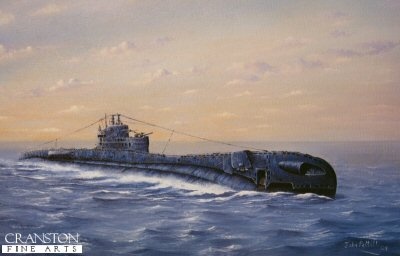 DHM6106. HMS/M Thrasher by John Pettitt. <p> HMS Thrasher returning from patrol off Crete in March 1942. <b><p>Signed by Vice Admiral Sir Hugh Mackenzie, KCB, DSO*, DSC (deceased),<br>Lieutenant L P Barker DSC,<br>Petty Officer Tommy Gould VC (deceased),<br>Commander Reggie Fitzgerald DSC,<br>Lieutenant A G Davies DSC (deceased)<br>and<br>Vice-Admiral Sir Ian McIntosh KBE, CB, DSO, DSC (deceased). <p>Signed limited edition of 1000 prints.  <p>Image size 27 inches x 19 inches (69cm x 48cm)
