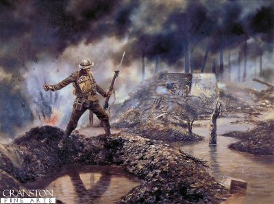 DHM612. Sgt. Robert Bye VC, 1st Battalion Welsh Guards near Langemarck by David Rowlands. <p> 3rd Battle of Ypres, 31st July 1917 <b><p> Open edition print. <p> Image size 17 inches x 12 inches (43cm 31cm)