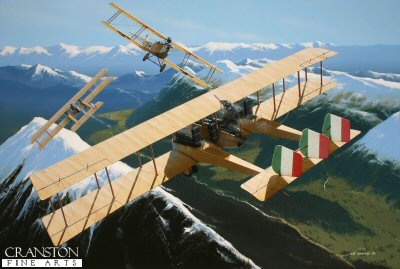Josef Kiss is depicted attacking a flight of Caproni Ca.III bombers above the Alps in a Hansa-Brandenburg C.1 of Flik 24 in 1916. He and his observer, Georg Kenzian successfully forced down two of these aircraft and returned to base safely, his own aircraft riddled with over 70 holes sustained during the combat. The Austro-Hungarian ace was to end the war with a total of 19 confirmed victories.