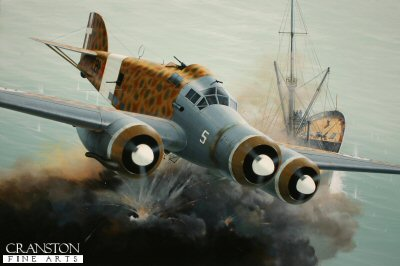 Among the most celebrated of Italian bomber pilots was Capitano Carlo Emanuele Buscaglia, seen here claiming another victim in his Savoia-Marchetti SM.79, 281-5, of the 281a Suadriglia based in Libya in 1940. Their daring daylight attacks on Allied shipping in the Mediterranean caused havoc with the convoys that plied between Malta and Allied territories, with thousands of tonnes of shipping being sent to the bottom