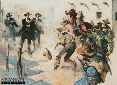 Terence Cuneo - Gunfight at the O.K. Corral.