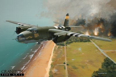 DHM6202. Dinah Might by Ivan Berryman. <p> 6th June, 1944 - D-Day - and Martin B.26 Marauders of the 386th Bomb Group, 553rd Bomb Squadron are among the first aircraft to bomb the beaches in readiness for the Normandy landings on that momentous day.  Shown softening up the enemy gun emplacements on a low level run over Utah Beach is 131576 AN-Z, now on display at the Utah Beach Museum. <b><p>Artists Special Reserve of 50 prints. <p>Image size 12.5 inches x 8 inches (32cm x 20cm)