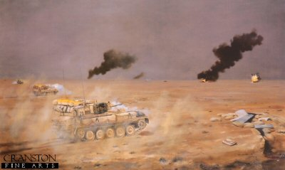 16th/5th The Queens Royal Lancers in action during the Gulf War, 26th February 1991 by David Rowlands (GL)