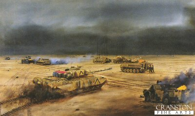 Headquarters 4th Armoured Brigade on Objective Copper South, Iraq 27th February 1991 by David Rowlands. (GL)