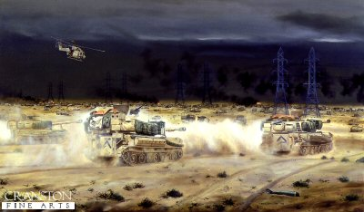 M109 Guns of the 40th Field Regiment Royal Artillery Approaching the Basra Road, Kuwait, 28th February 1991 by David Rowlands.