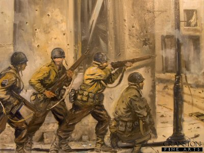 8th US Infantry, 4th US Division enter Sainte-Marie-du-Mont by Jason Askew. (GS)