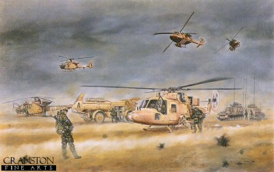 4th Regiment Army Air Corps, Helicopter Landing Site in Iraq, Operation Dessert Storm, 26th February 1991 by David Rowlands.