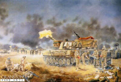 M109 Guns of the Royal Artillery in Action, Iraq February 1991 by David Rowlands. (GS)